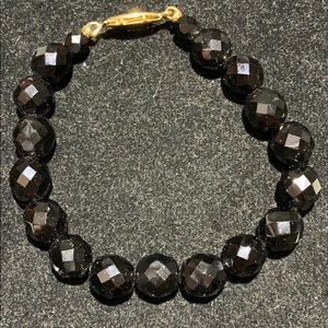 Jewelry - FACETED BLACK GLASS BEAD BRACELET W/ GOLD CLASP